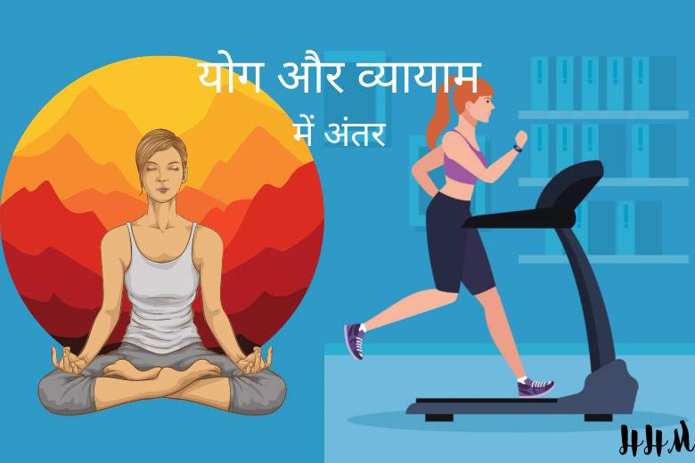 what is the difference between yogasana and exercise in hindi